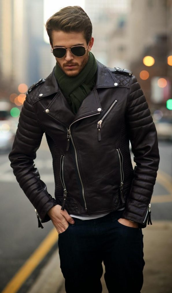Biker Rockabillystyle Leather Jacket