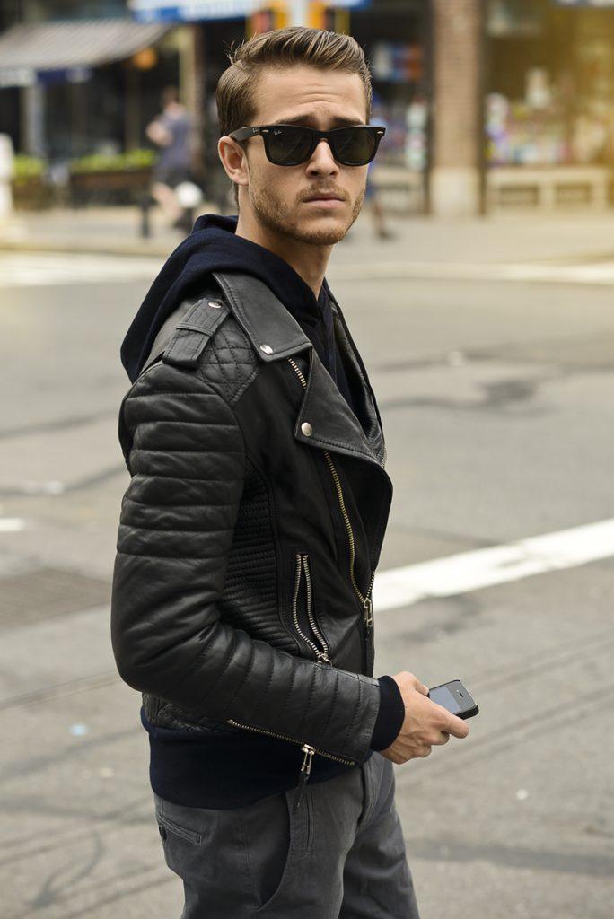 Biker Rockabillystyle Leather Jacket Samping
