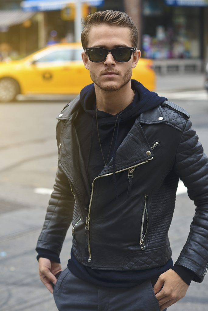 Biker Rockabillystyle Leather Jacket depan