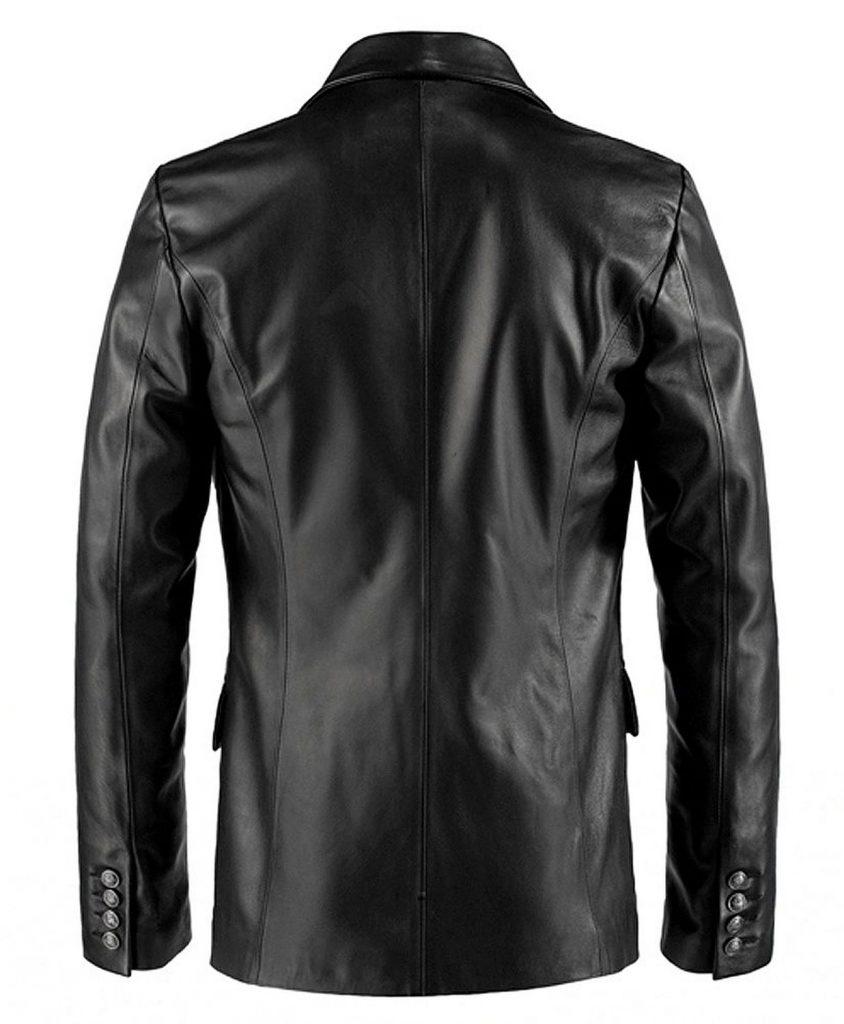 Jaket Kulit Forsaken Gothic Blazer Hitam Belakang