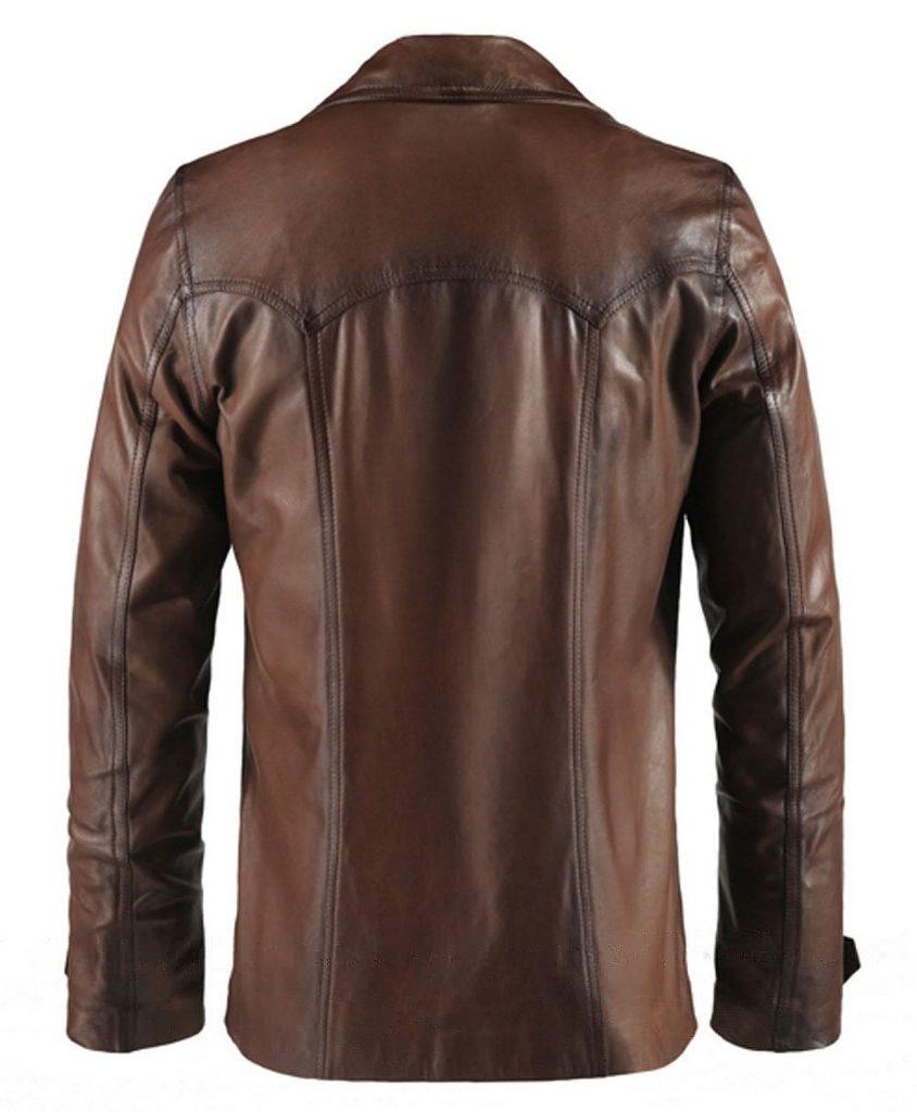 Jaket Kulit Heist Vintage Brown Belakang
