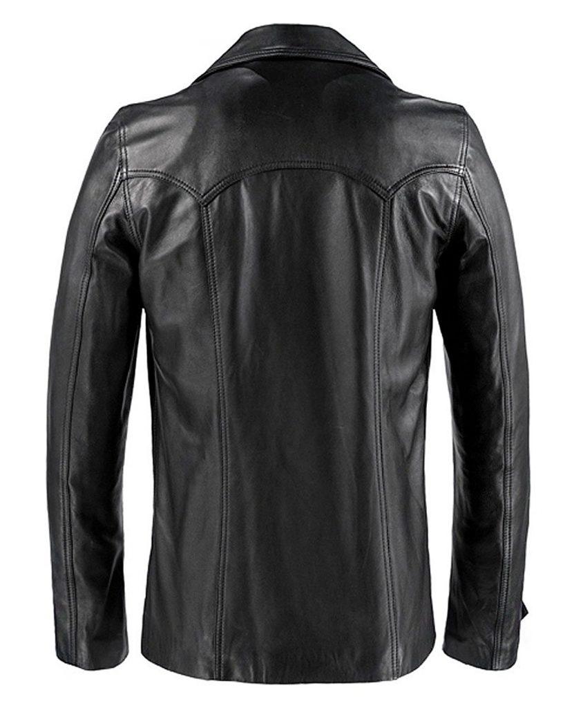 Jaket Kulit Heist Vintage Hitam Belakang