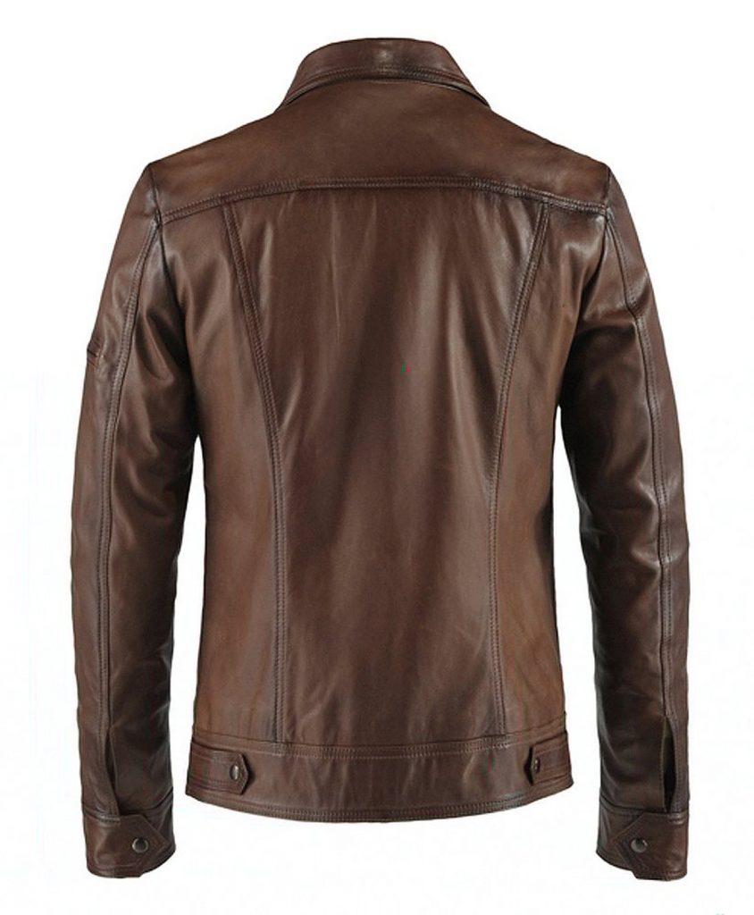 Jaket Kulit Lynch Vintage Antique Brown Belakang