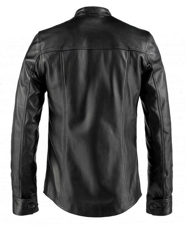 Jaket Kulit Paul Weller Vintage Hitam Belakang
