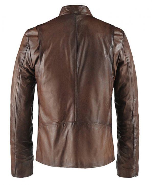 Jaket Kulit Replika Ironman Brown Belakang