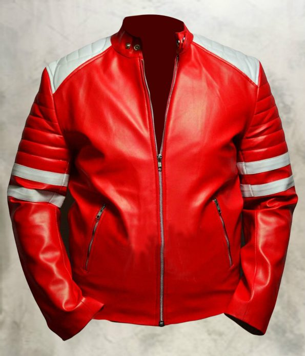 Jaket Kulit Tyler Durden Fight Club Red Depan