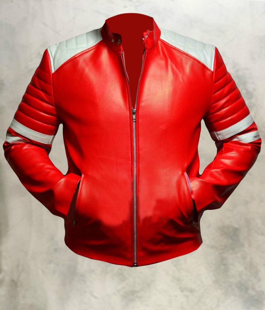 Jaket Kulit Tyler Durden Fight Club Red Front