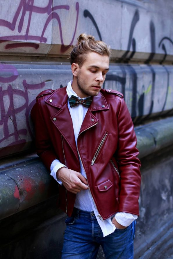 Maroon Rockabillystyle Leather Jacket
