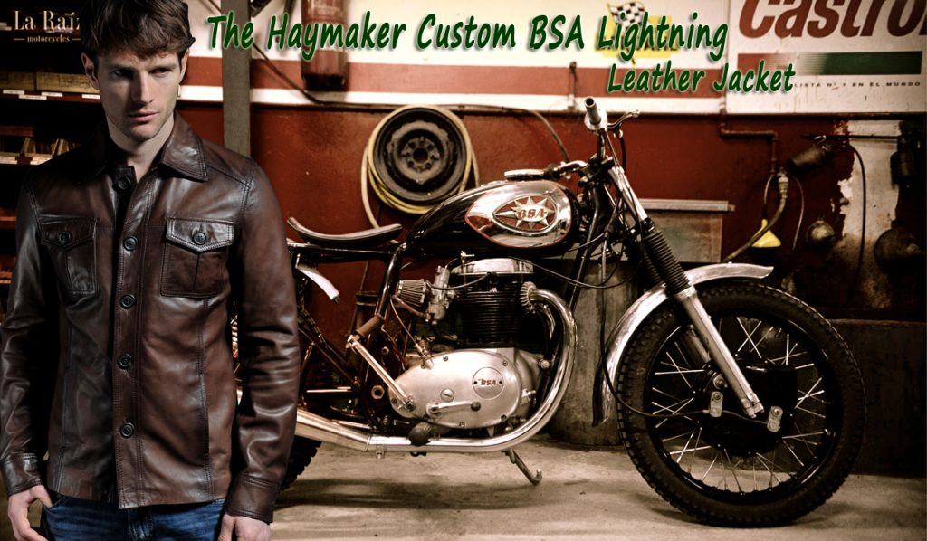 The Haymaker Custom BSA Lightning Leather Jacket