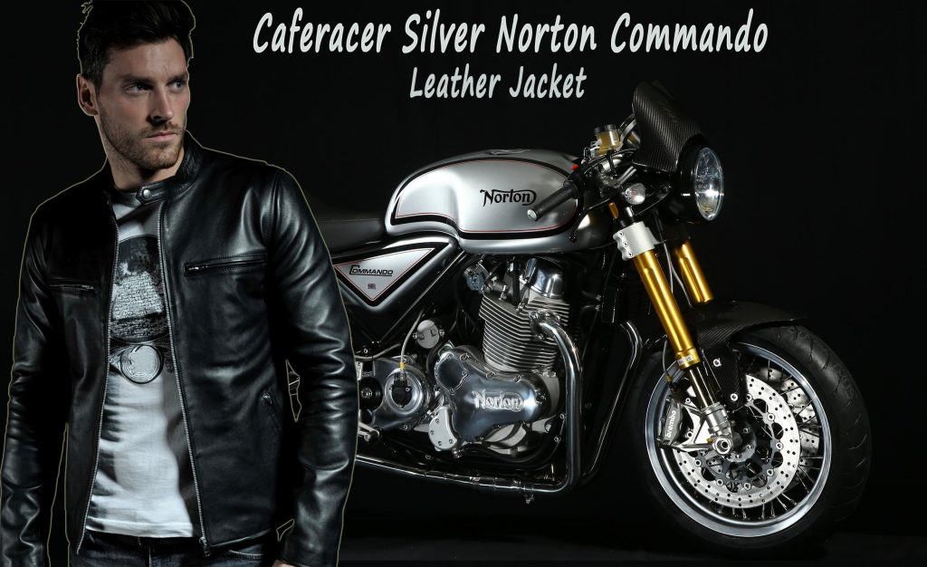Caferacer Silver Norton Commando Leather Jacket