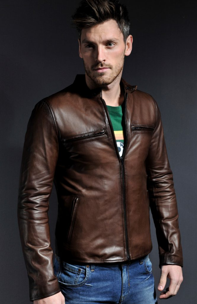 Jaket Kulit Cafe Racer Biker Antique Brown