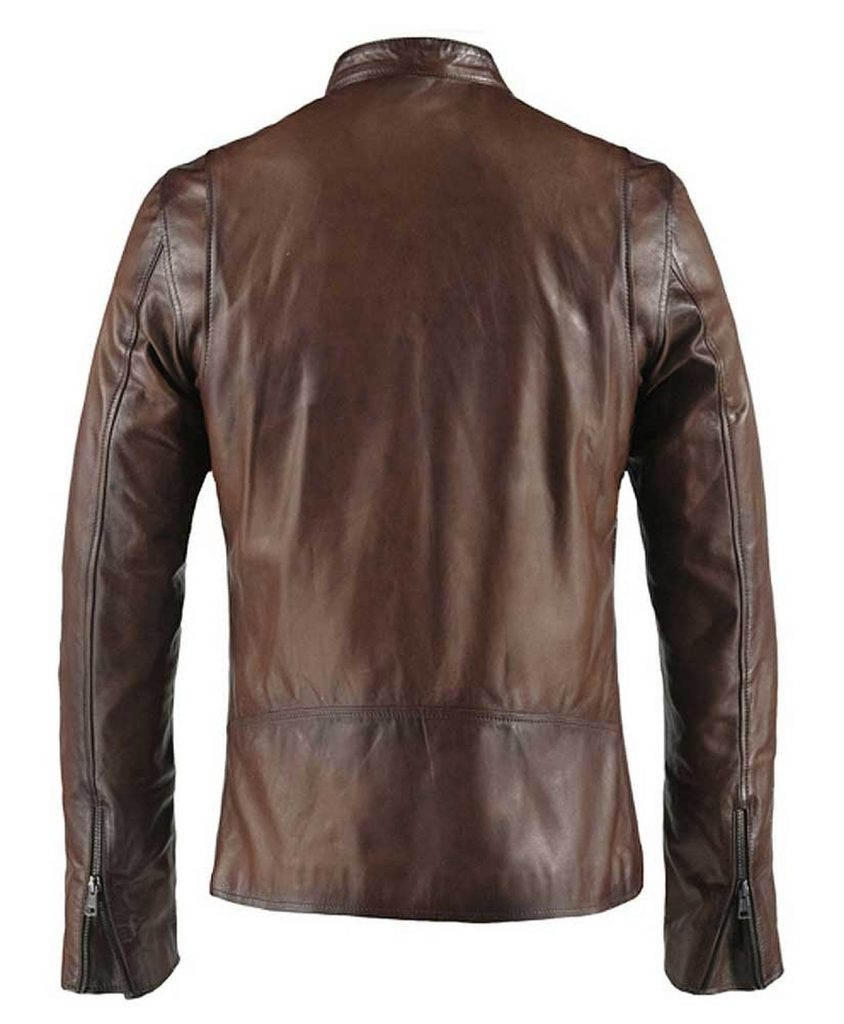 Jaket Kulit Cafe Racer Biker Antique Brown Belakang