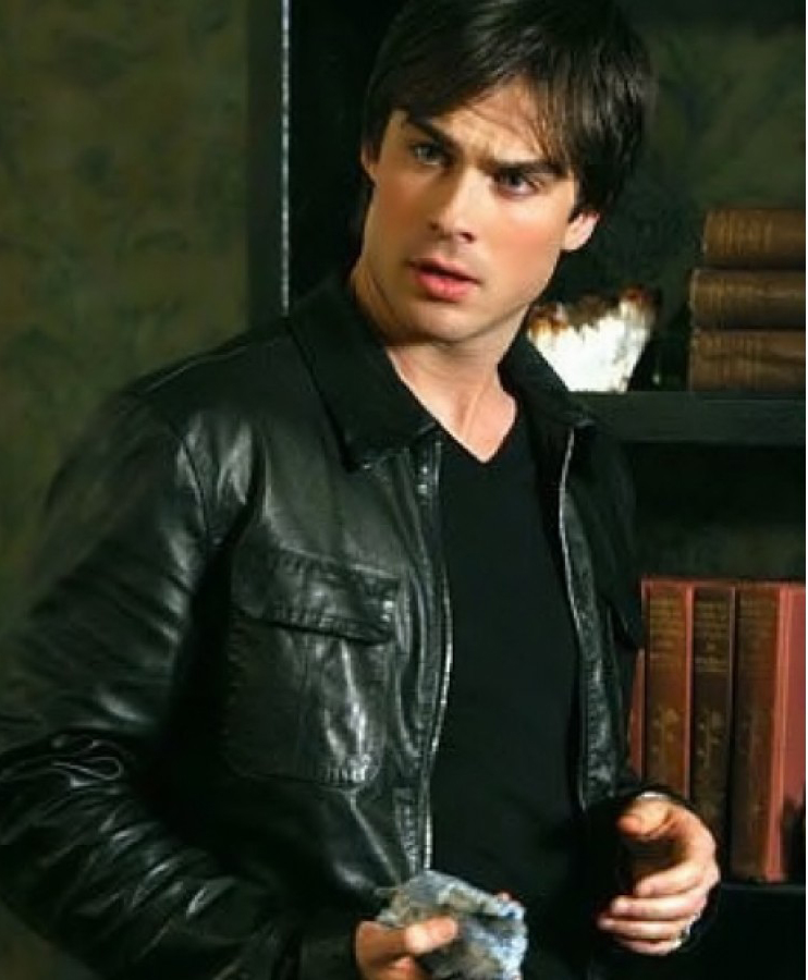Jaket Kulit Damon Salvatore Vampire Diaries Black