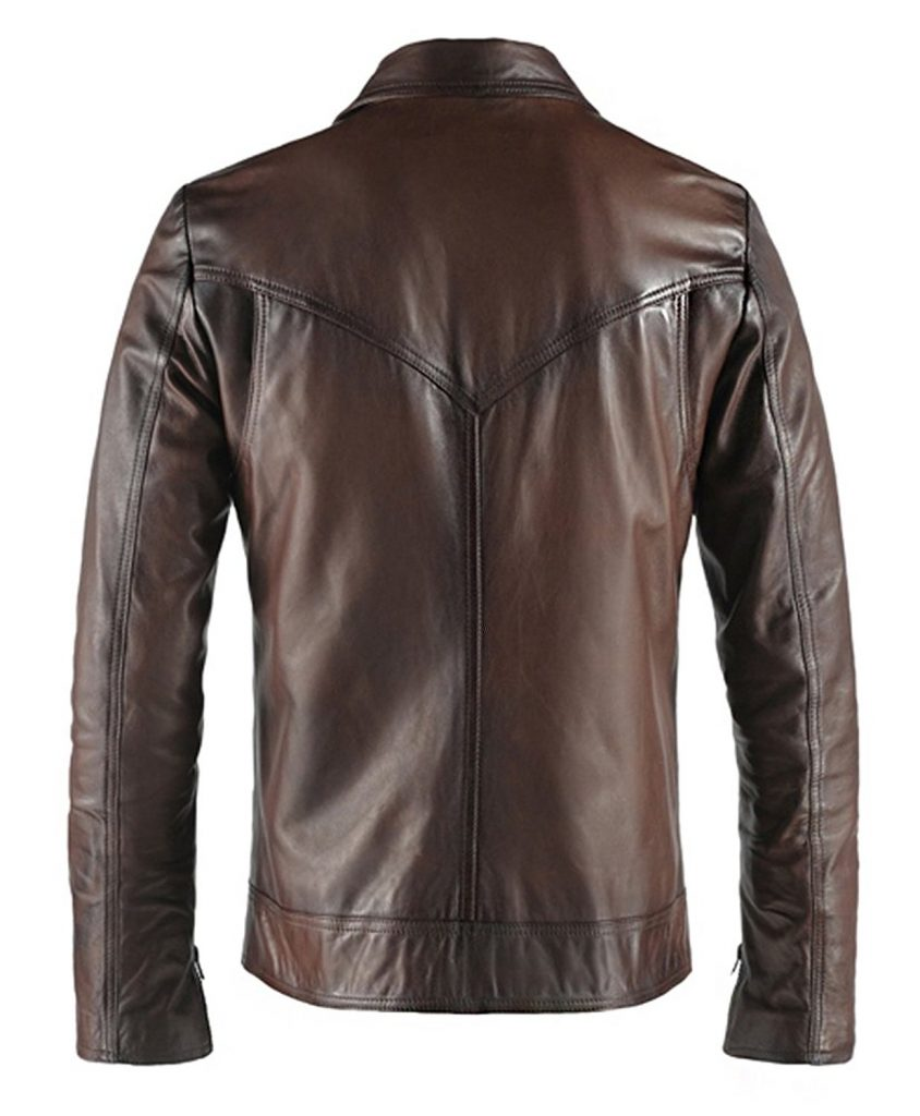 Jaket Kulit Drifter Vintage Brown Belakang