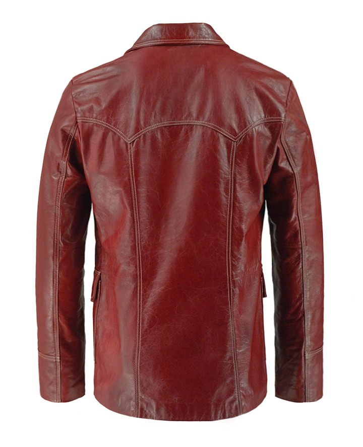 Jaket Kulit Fight Club Style Origin Red Belakang