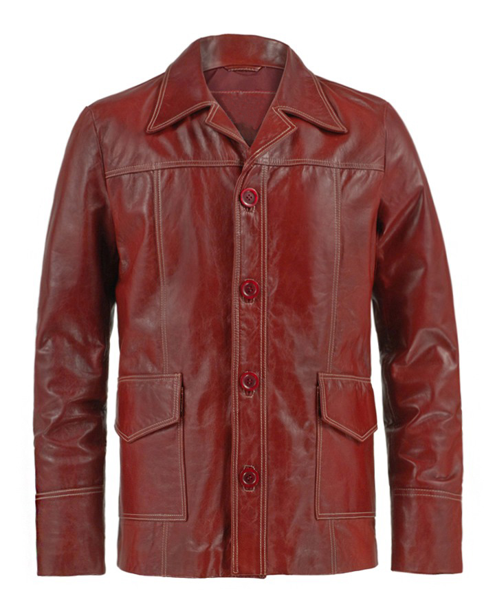 Jaket Kulit Fight Club Style Origin Red Depan