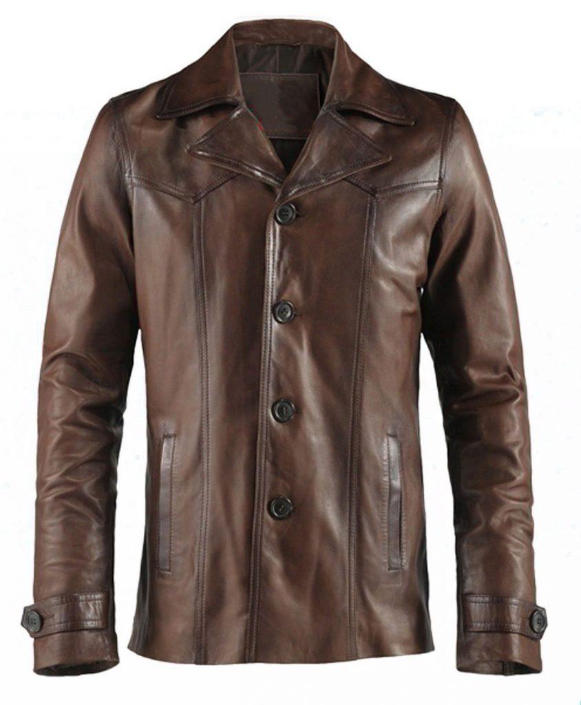 Jaket Kulit Heist Vintage Brown Depan