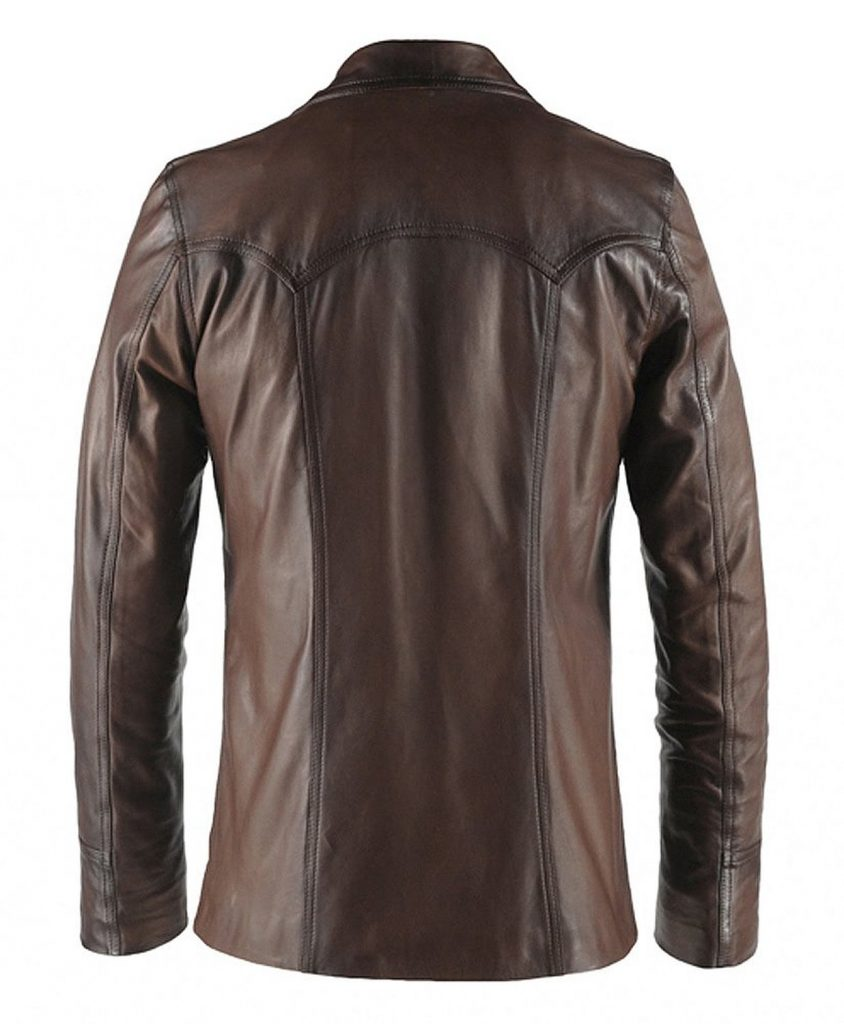 Jaket Kulit Hitman Fight Club Style Brown Belakang