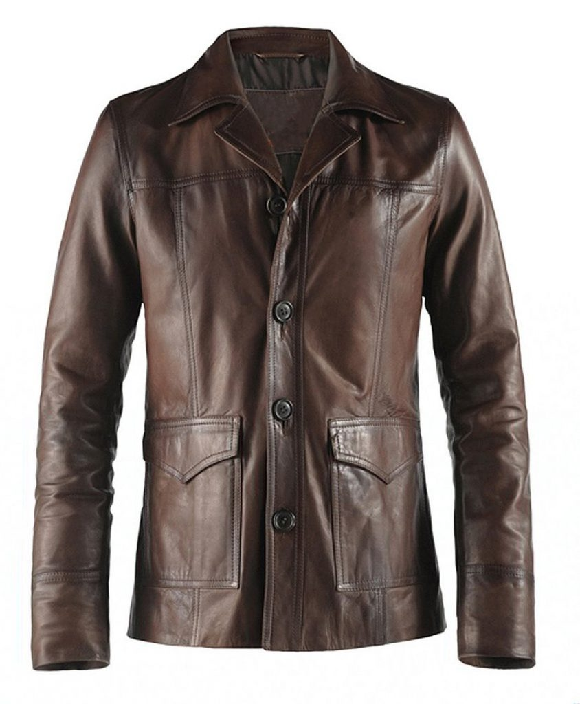 Jaket Kulit Hitman Fight Club Style Brown Depan