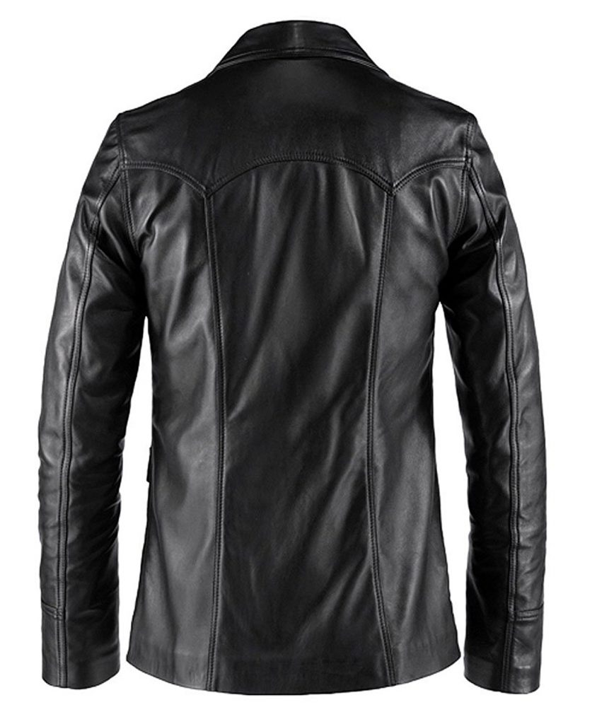 Jaket Kulit Hitman Fight Club Style Hitam Belakang