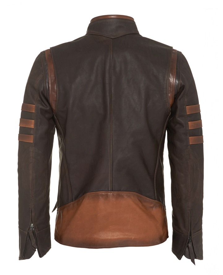 Jaket Kulit Logan Wolverine X Men Origin Brown Belakang