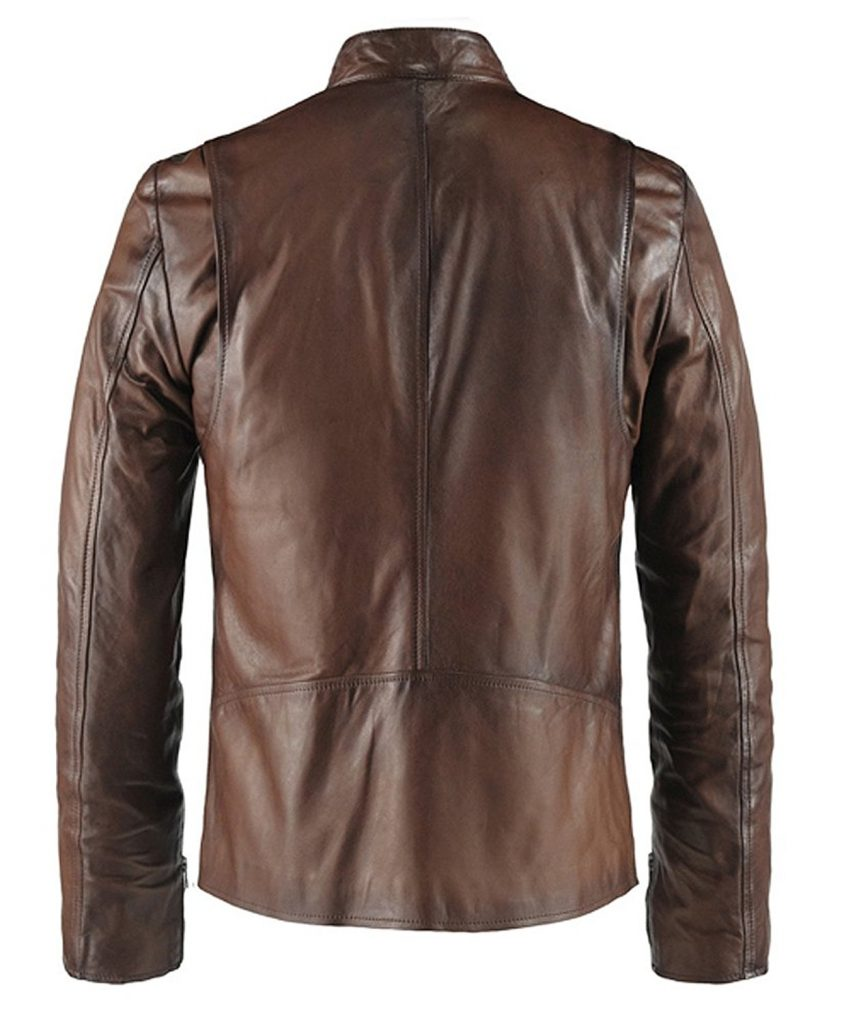 Jaket Kulit Replika Ironman Brown Belakang