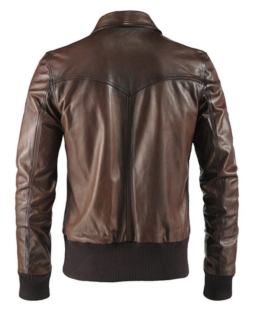 Jaket Kulit The Deal 70s Vintage Brown Belakang