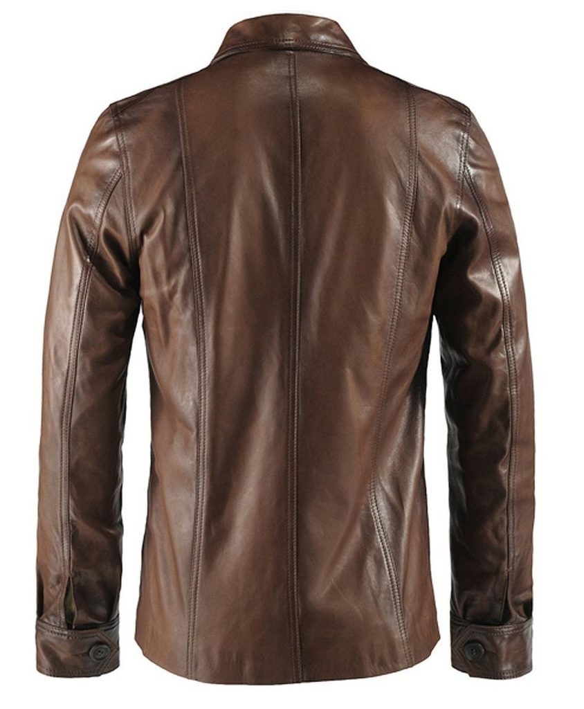 Jaket Kulit The Haymaker Brown Belakang