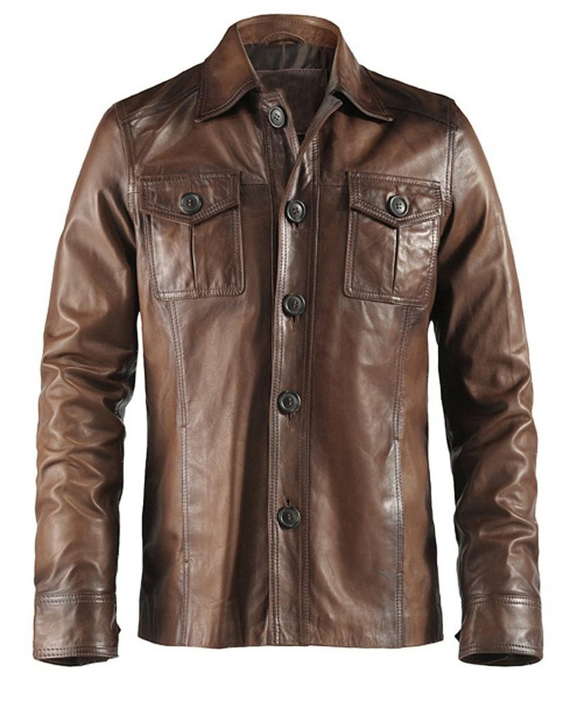 Jaket Kulit The Haymaker Brown Depan