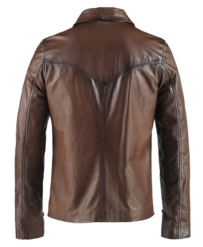 Jaket Kulit The Wheelman Brown Belakang