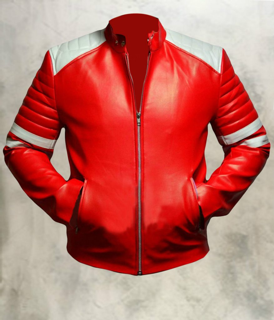 Jaket Kulit Tyler Durden Fight Club Red Front