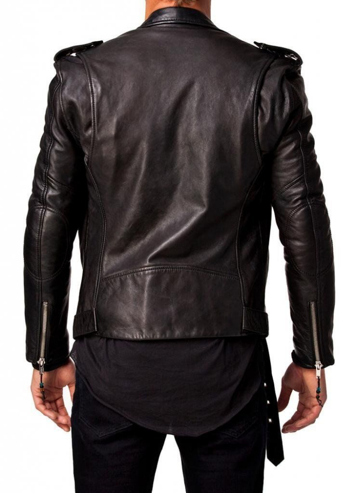 Simple Rockabillystyle Leather Jacket Belakang