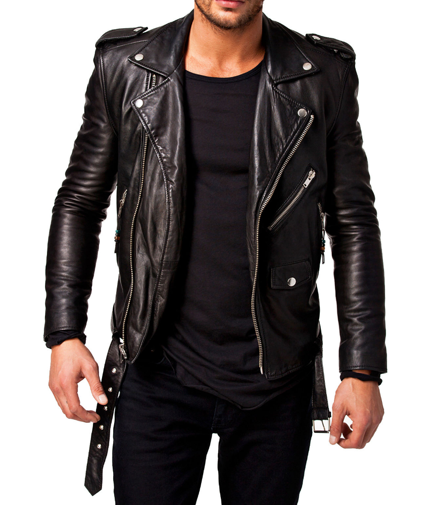 Simple Rockabillystyle Leather Jacket depan