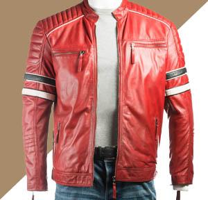 Jaket Kulit Pria Warna Merah Biker