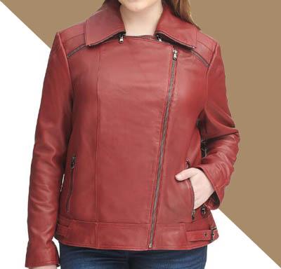 jual jake kulit wanita simpel merah