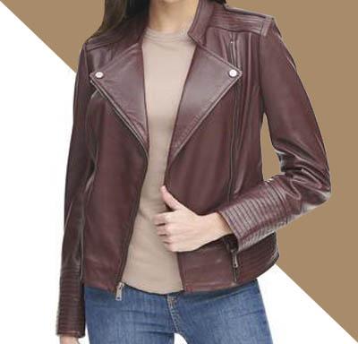 jual jaket kulit biker wanita simpel