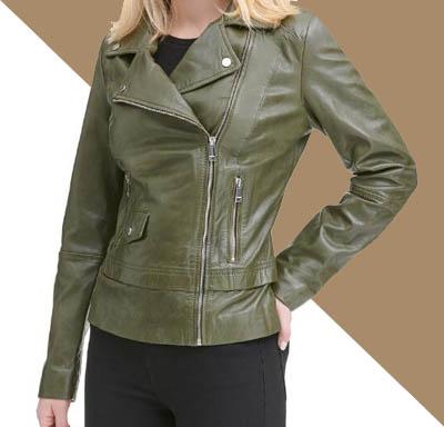 jual jaket kulit wanita hijau tua