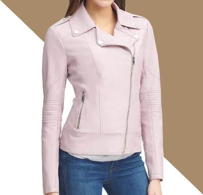 jual jaket kulit wanita pastel pink