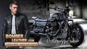 jaket kulit rompi kulit, celana kulit & chaps, tas kulit & saddle bag motor Moto Guzzi